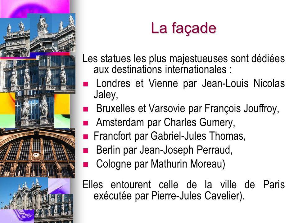 La façade Les statues les plus majestueuses sont dédiées aux destinations internationales : Londres et Vienne par Jean-Louis Nicolas Jaley,