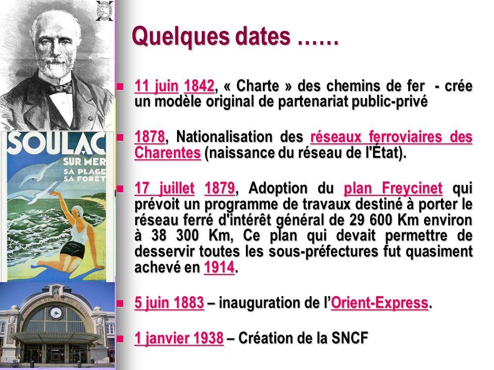 Quelques dates …… 11 juin 1842, « Charte » des chemins de fer - crée un modèle original de partenariat public-privé.