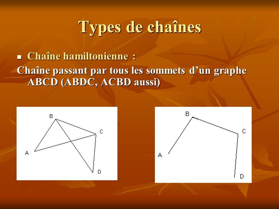Types de chaînes Chaîne hamiltonienne :