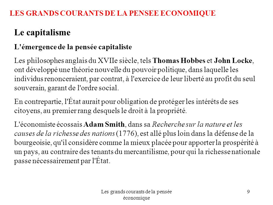Les grands courants de la pensée économique