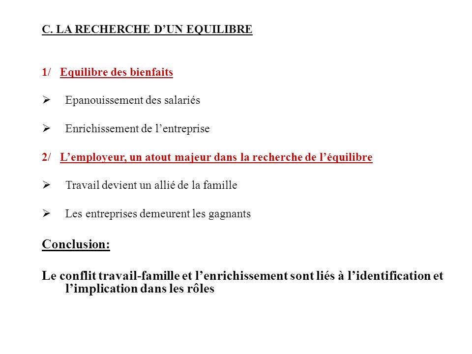 C. LA RECHERCHE D'UN EQUILIBRE