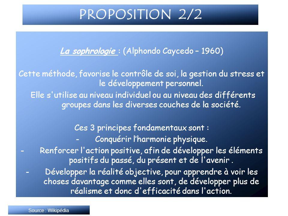 PROPOSITION 2/2 La sophrologie : (Alphondo Caycedo – 1960)