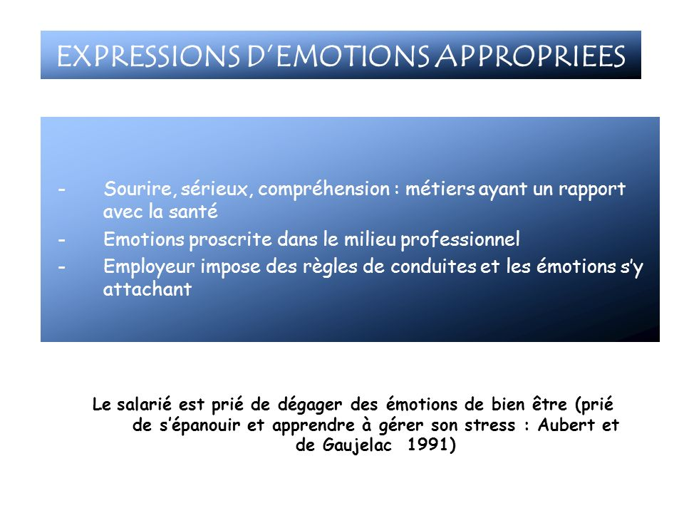 EXPRESSIONS D'EMOTIONS APPROPRIEES