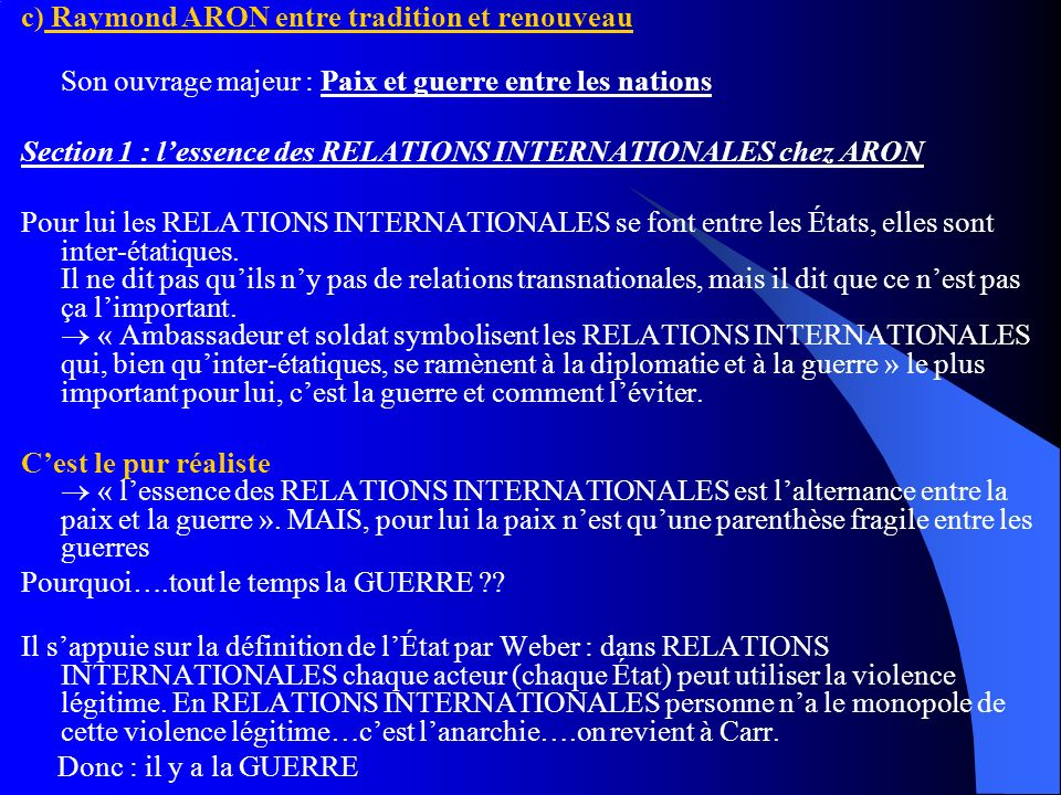 c) Raymond ARON entre tradition et renouveau