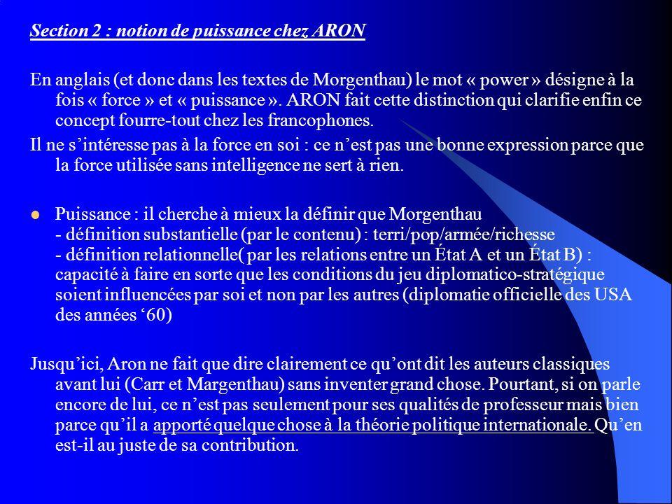 Section 2 : notion de puissance chez ARON