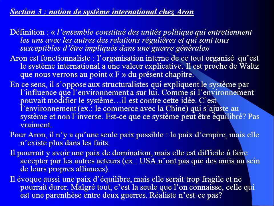 Section 3 : notion de système international chez Aron