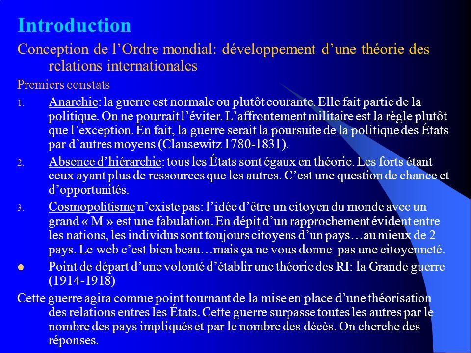 Introduction Conception de l'Ordre mondial: développement d'une théorie des relations internationales.