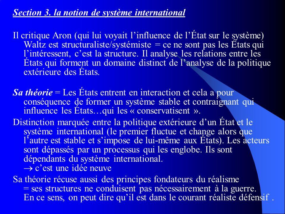 Section 3. la notion de système international