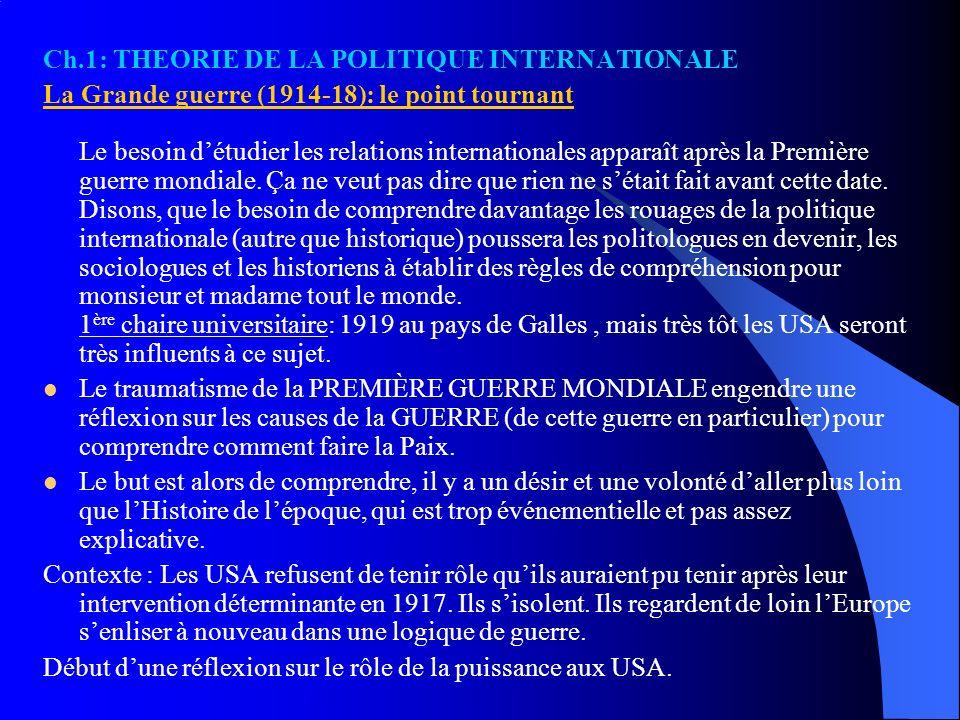 Ch.1: THEORIE DE LA POLITIQUE INTERNATIONALE