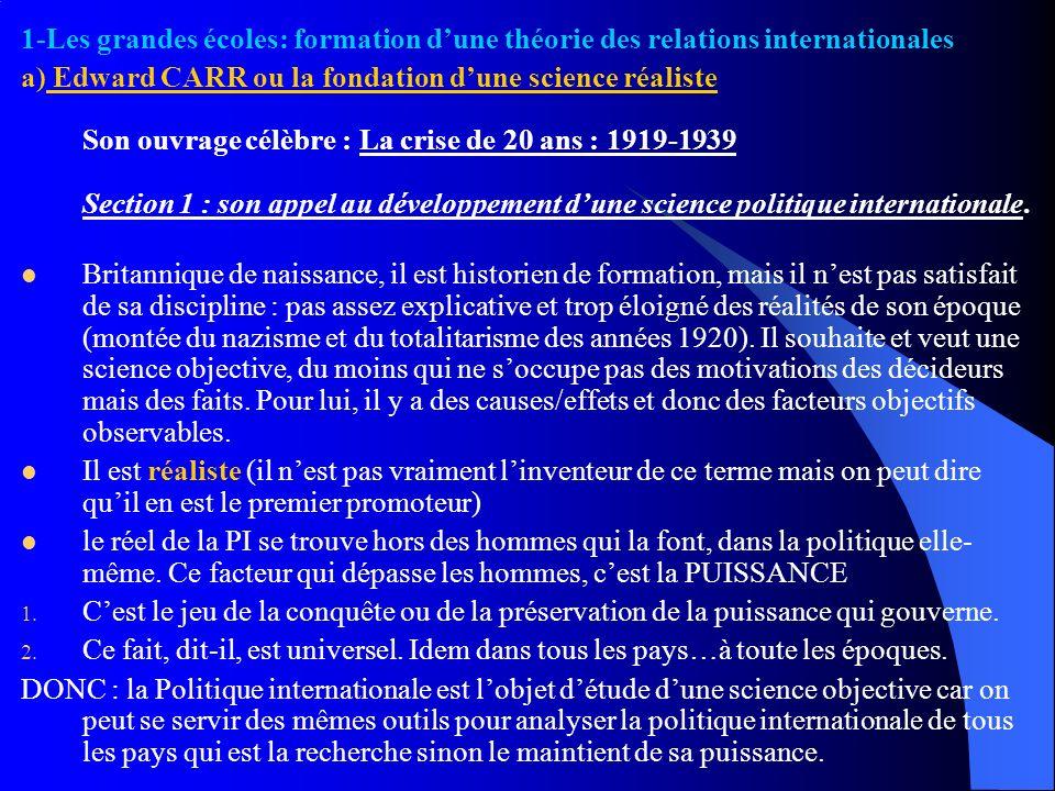 1-Les grandes écoles: formation d'une théorie des relations internationales