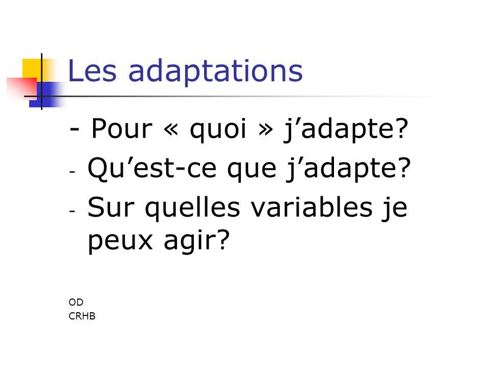 Les adaptations - Pour « quoi » j'adapte Qu'est-ce que j'adapte