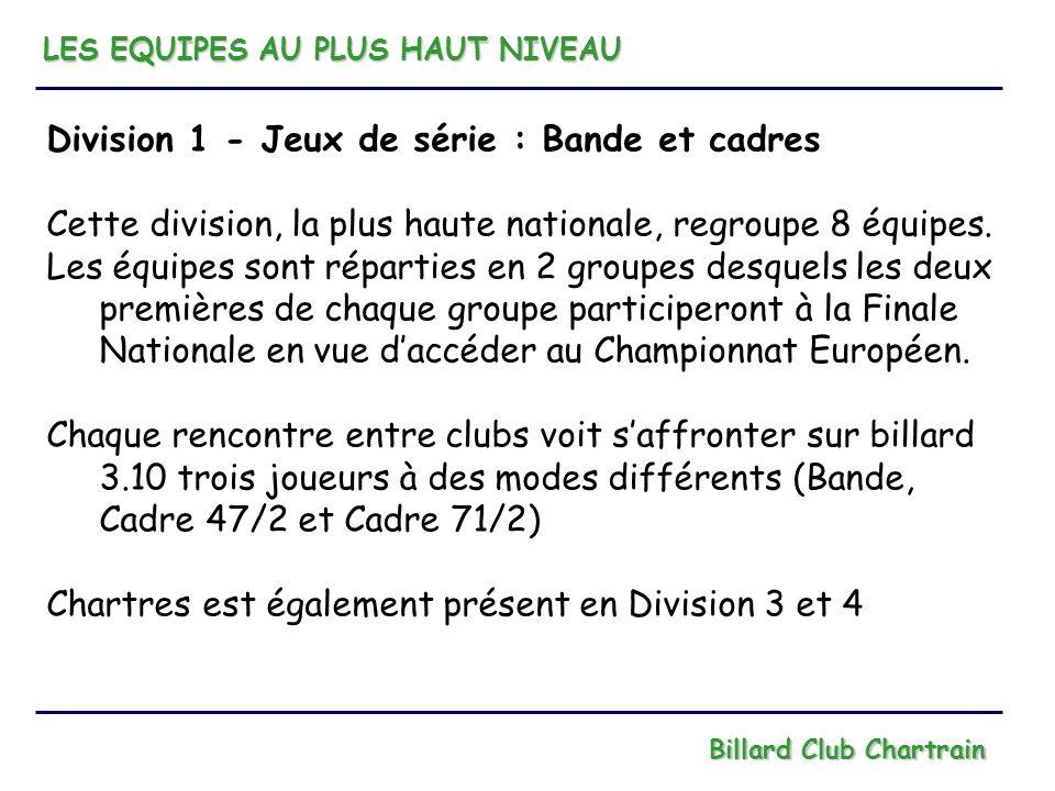 Division 1 - Jeux de série : Bande et cadres