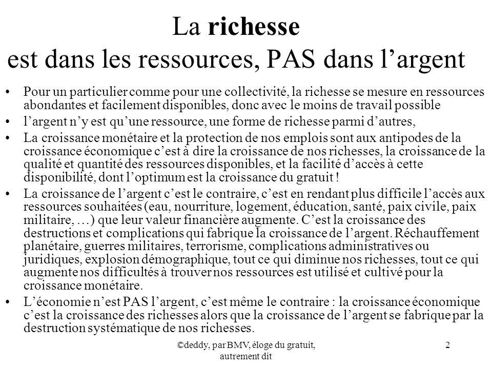 La richesse est dans les ressources, PAS dans l'argent