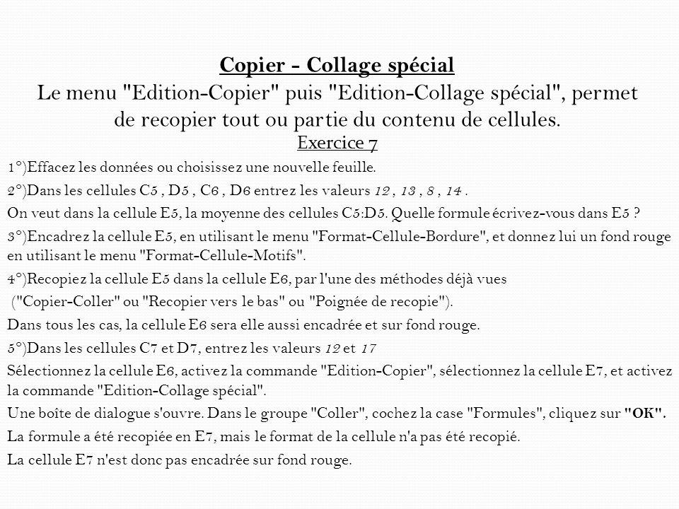 Copier - Collage spécial Le menu Edition-Copier puis Edition-Collage spécial , permet de recopier tout ou partie du contenu de cellules.