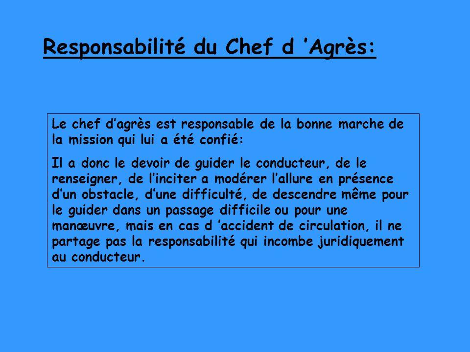 Responsabilité du Chef d 'Agrès: