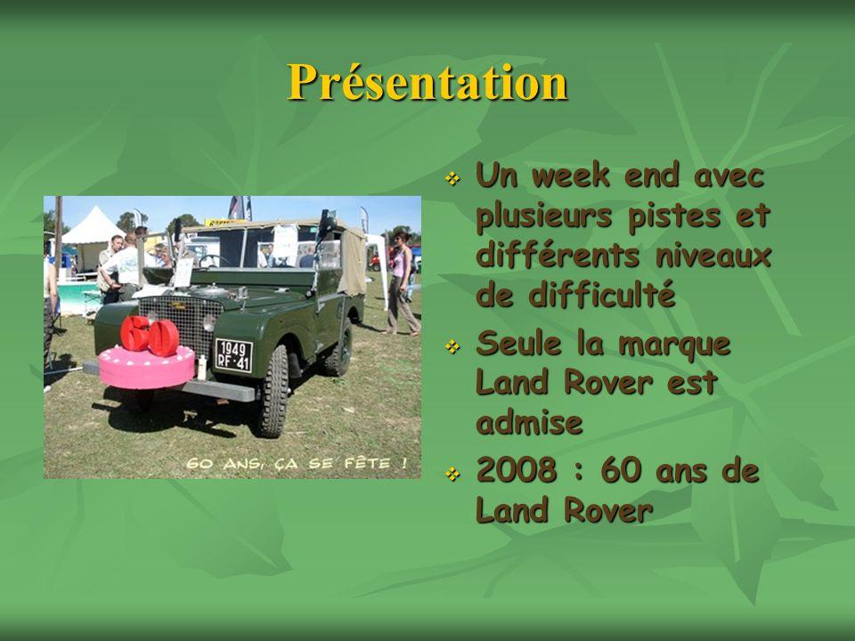 Présentation Un week end avec plusieurs pistes et différents niveaux de difficulté. Seule la marque Land Rover est admise.