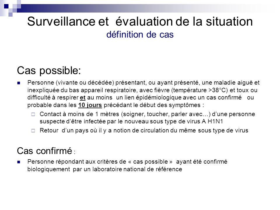 Surveillance et évaluation de la situation définition de cas