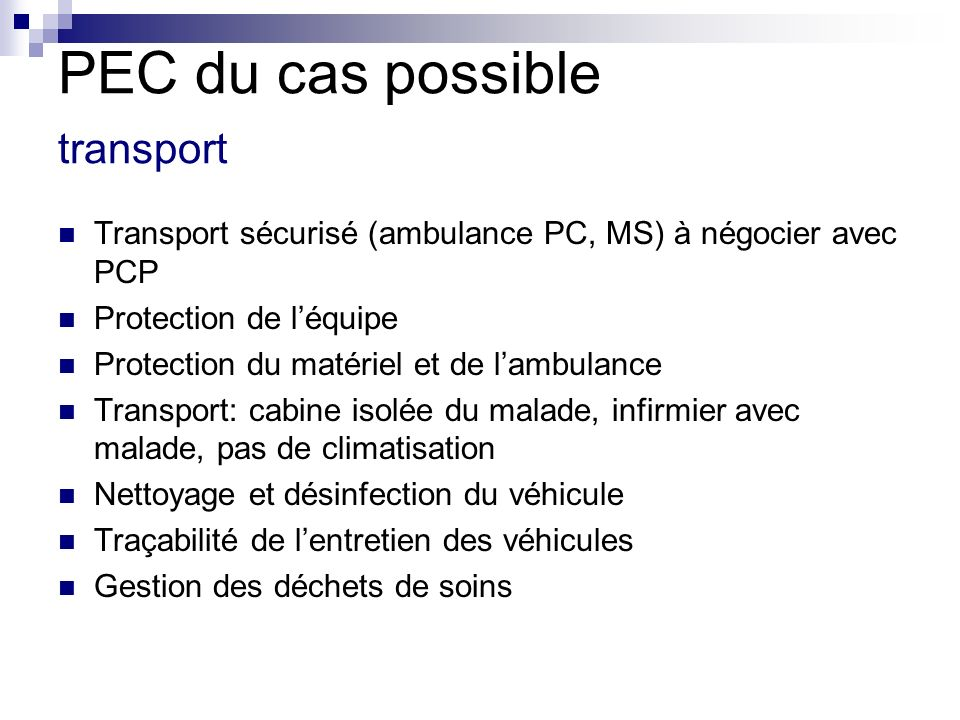 PEC du cas possible transport