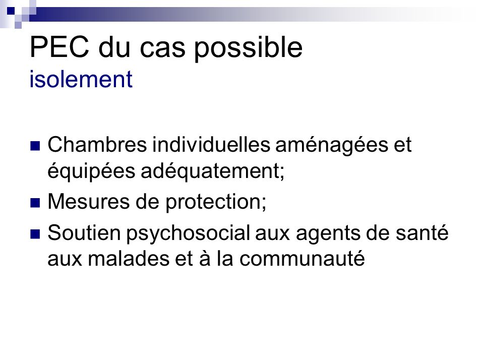 PEC du cas possible isolement