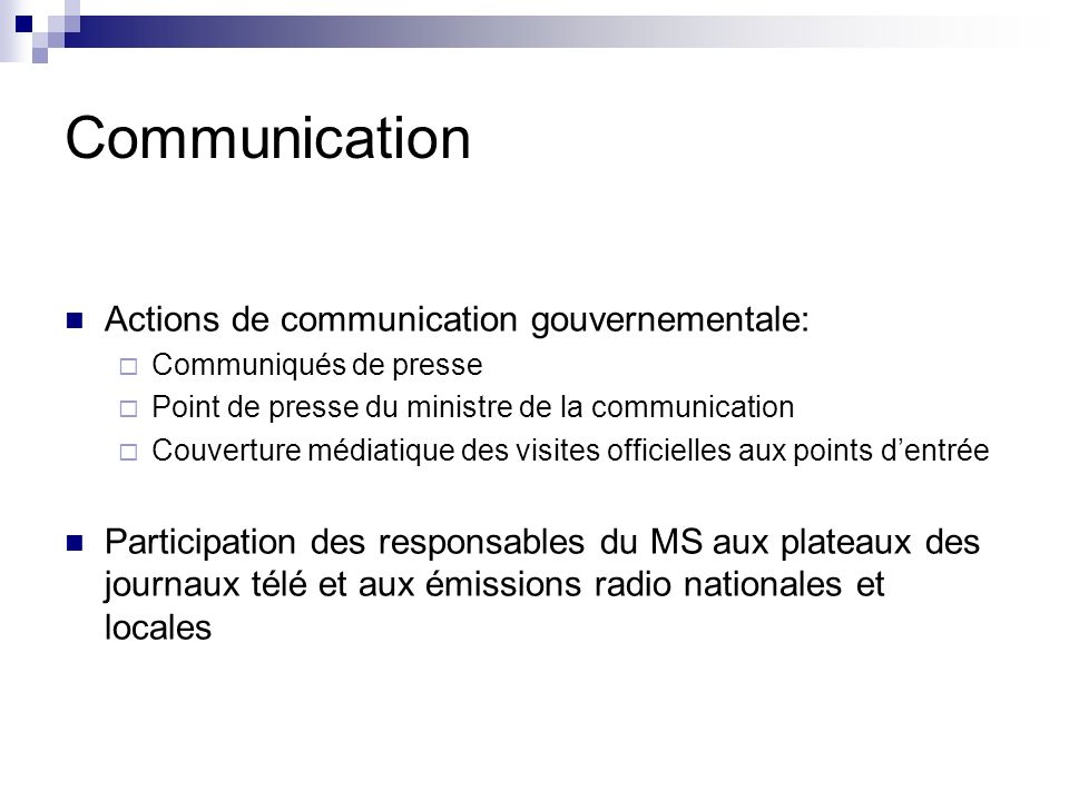 Communication Actions de communication gouvernementale: