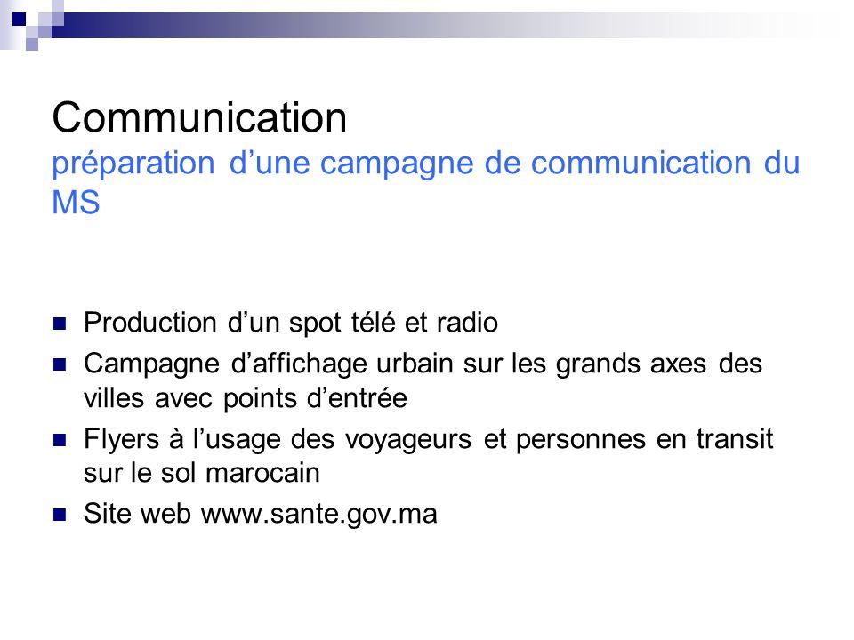 Communication préparation d'une campagne de communication du MS