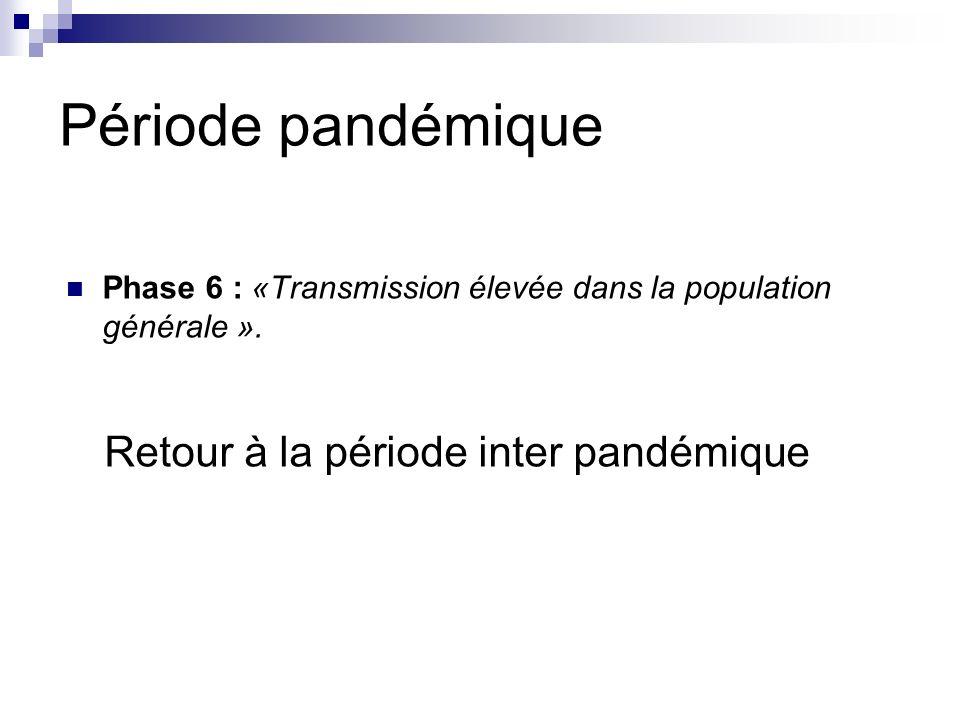 Période pandémique Retour à la période inter pandémique
