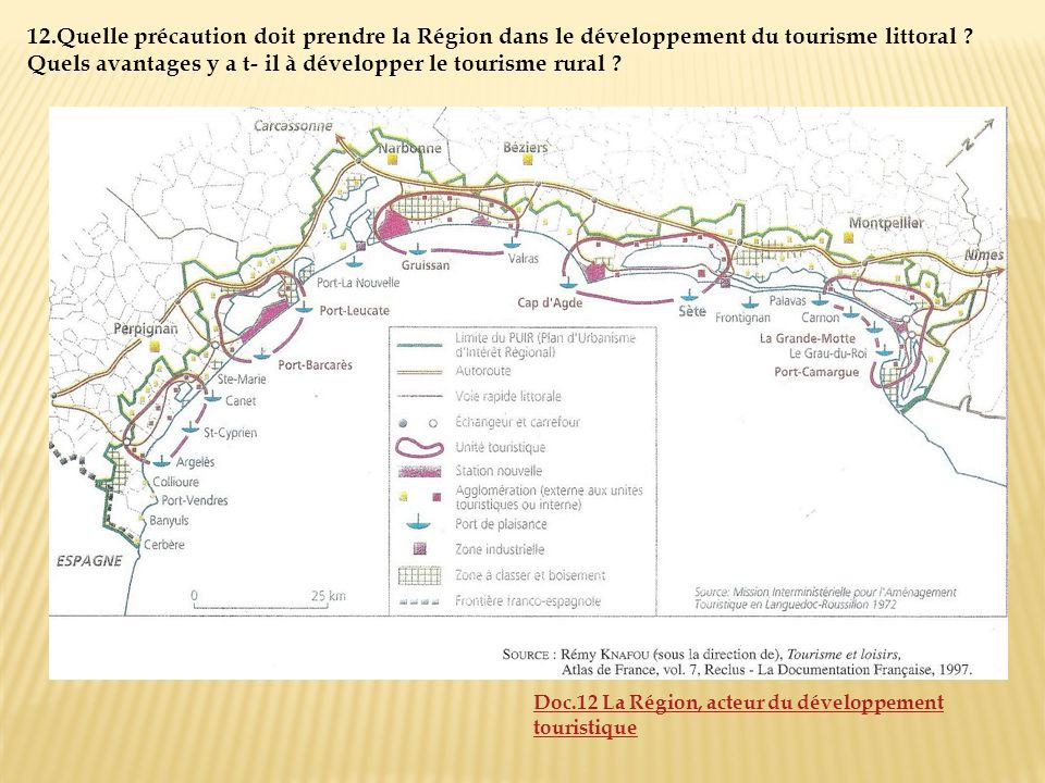 12.Quelle précaution doit prendre la Région dans le développement du tourisme littoral Quels avantages y a t- il à développer le tourisme rural