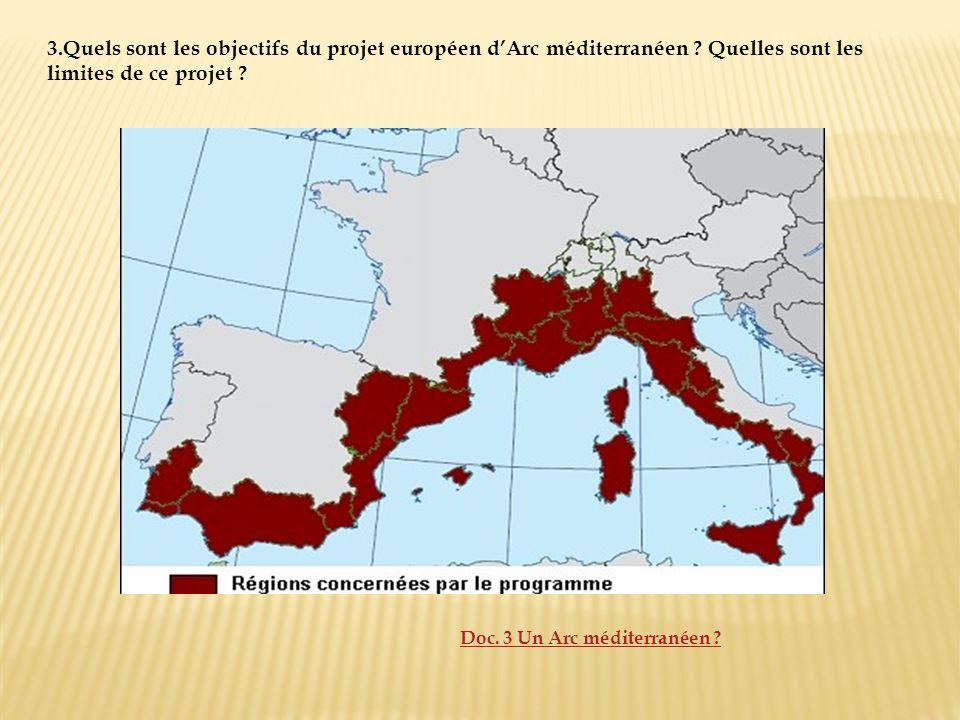 3. Quels sont les objectifs du projet européen d'Arc méditerranéen