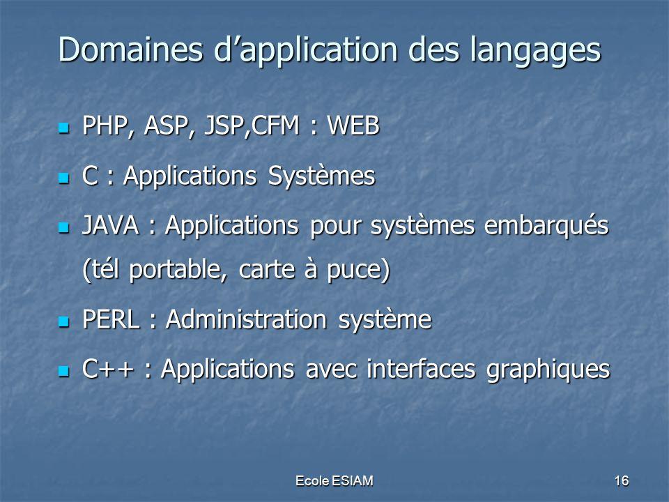 Domaines d'application des langages