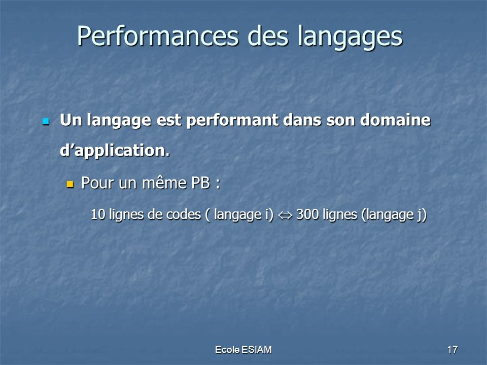 Performances des langages