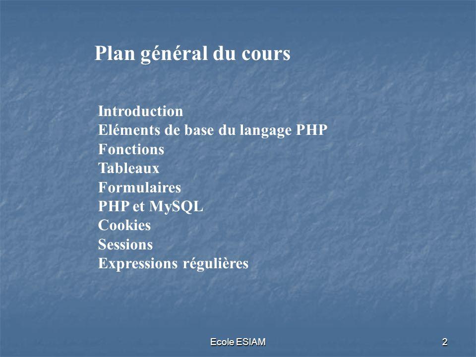 Plan général du cours Introduction Eléments de base du langage PHP