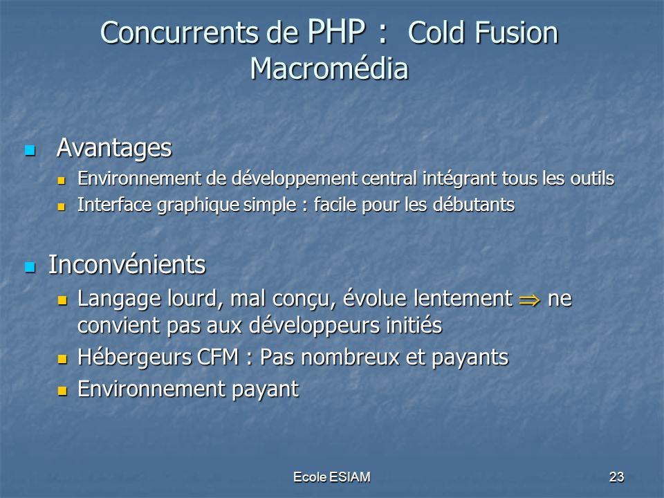 Concurrents de PHP : Cold Fusion Macromédia