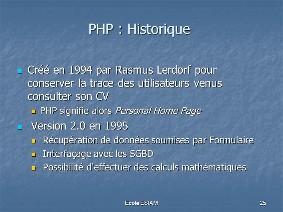 PHP : Historique Créé en 1994 par Rasmus Lerdorf pour conserver la trace des utilisateurs venus consulter son CV.