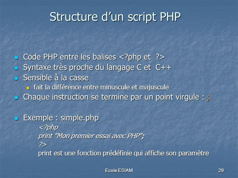 Structure d'un script PHP