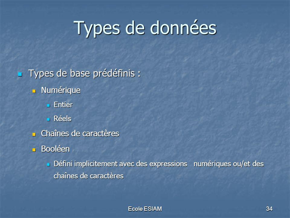 Types de données Types de base prédéfinis : Numérique