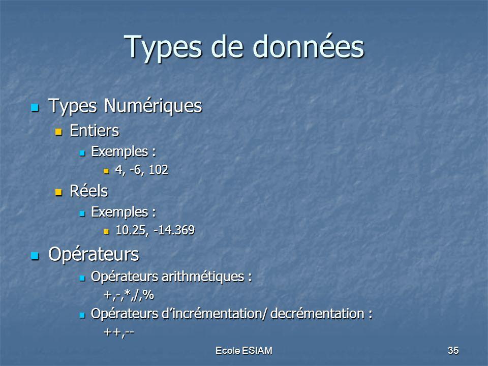 Types de données Types Numériques Opérateurs Entiers Réels Exemples :