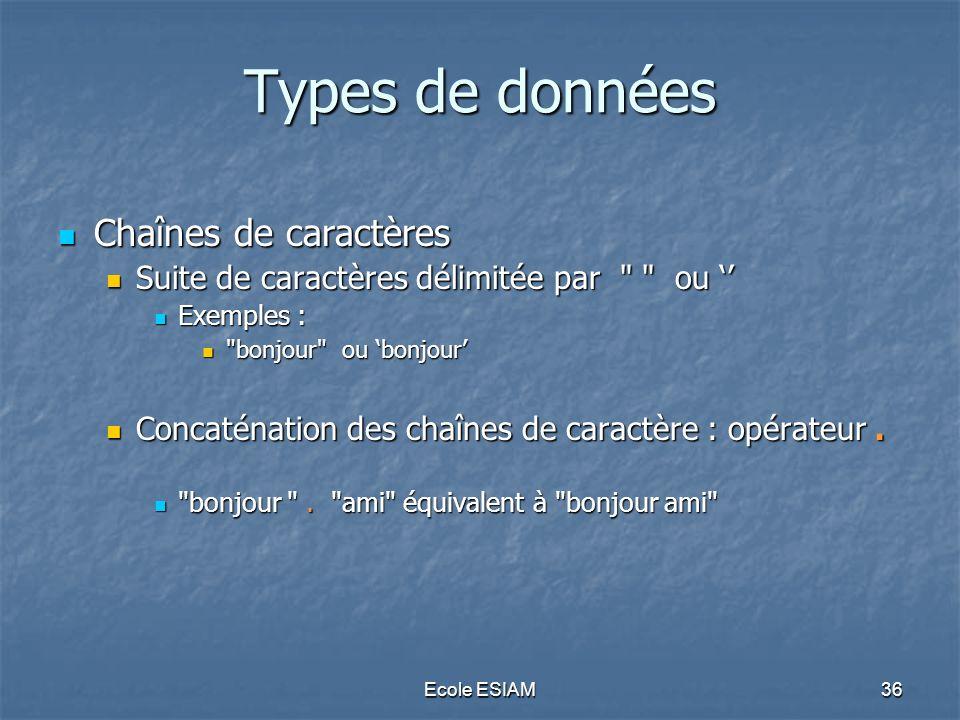 Types de données Chaînes de caractères