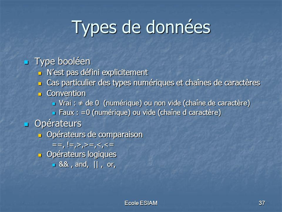 Types de données Type booléen Opérateurs