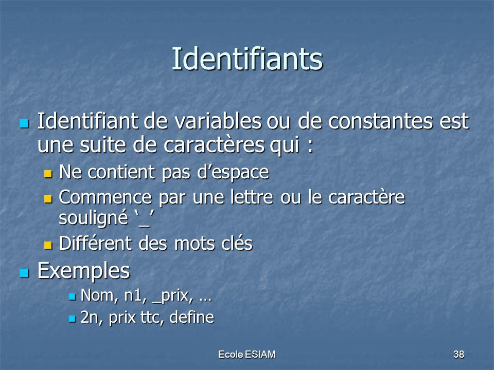 Identifiants Identifiant de variables ou de constantes est une suite de caractères qui : Ne contient pas d'espace.