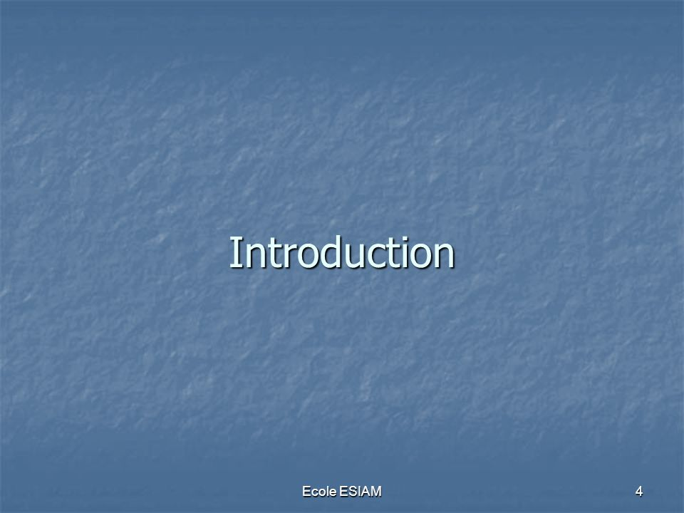 Introduction Ecole ESIAM