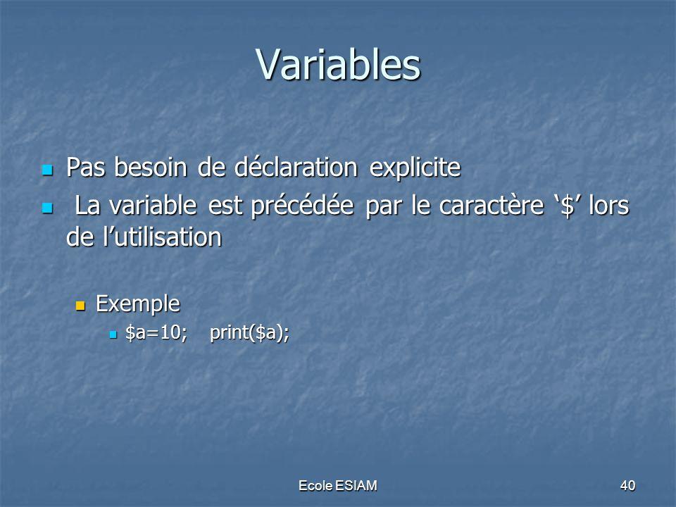 Variables Pas besoin de déclaration explicite