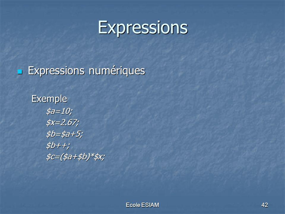 Expressions Expressions numériques Exemple $a=10; $x=2.67; $b=$a+5;
