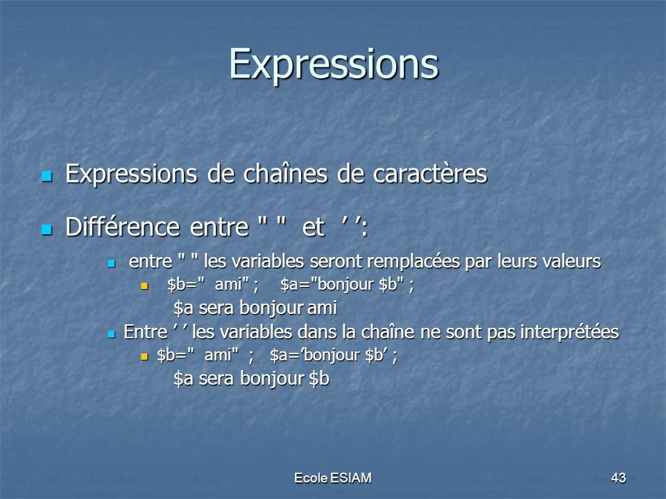 Expressions Expressions de chaînes de caractères