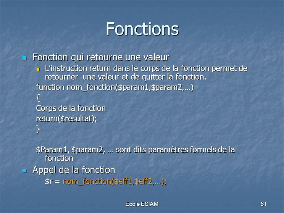 Fonctions Fonction qui retourne une valeur Appel de la fonction