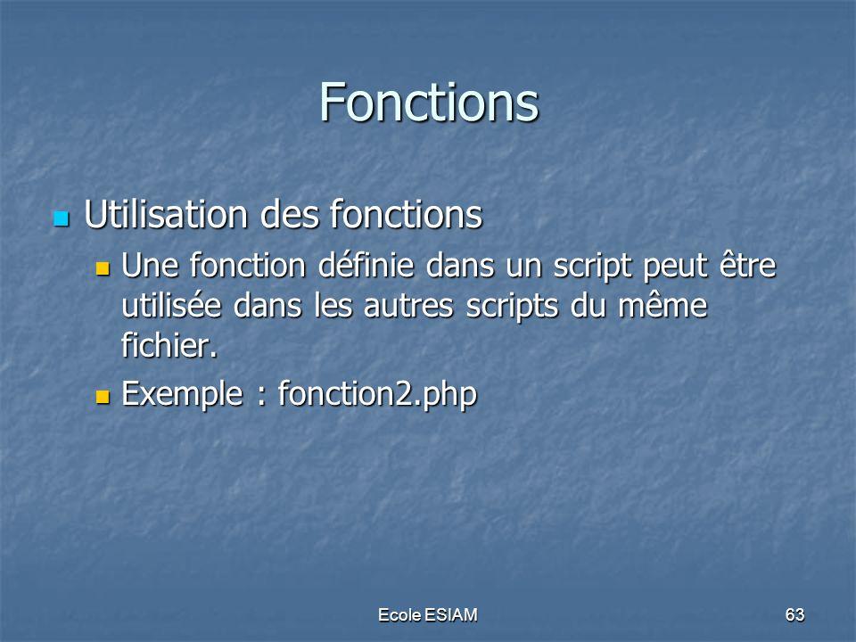 Fonctions Utilisation des fonctions
