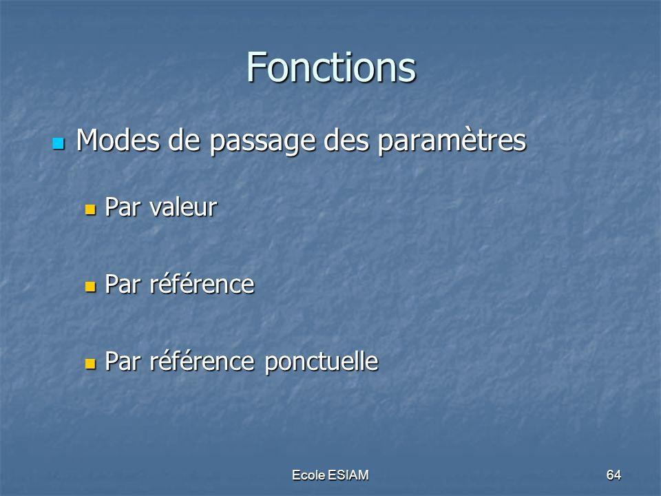 Fonctions Modes de passage des paramètres Par valeur Par référence