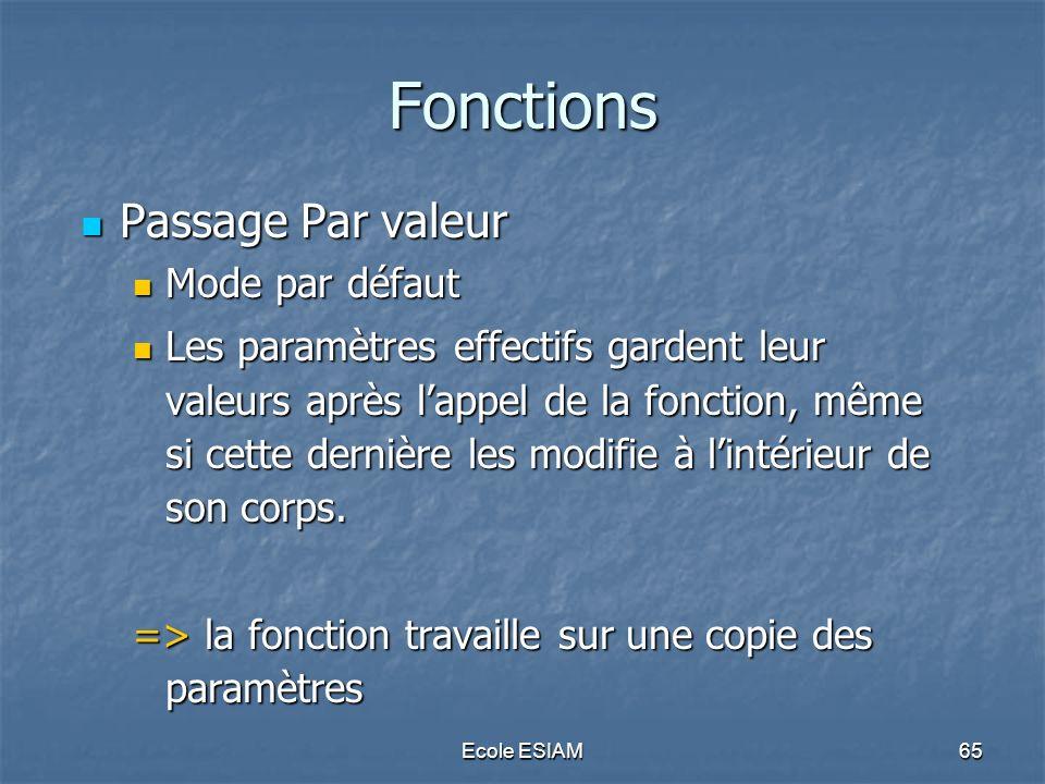 Fonctions Passage Par valeur Mode par défaut