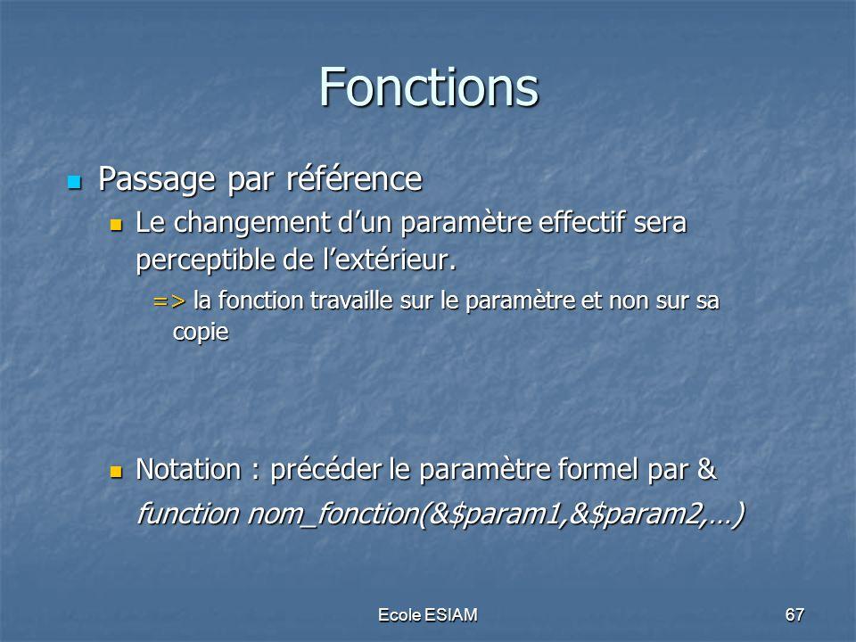 Fonctions Passage par référence