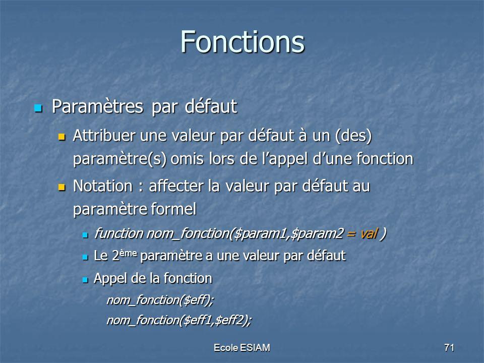 Fonctions Paramètres par défaut