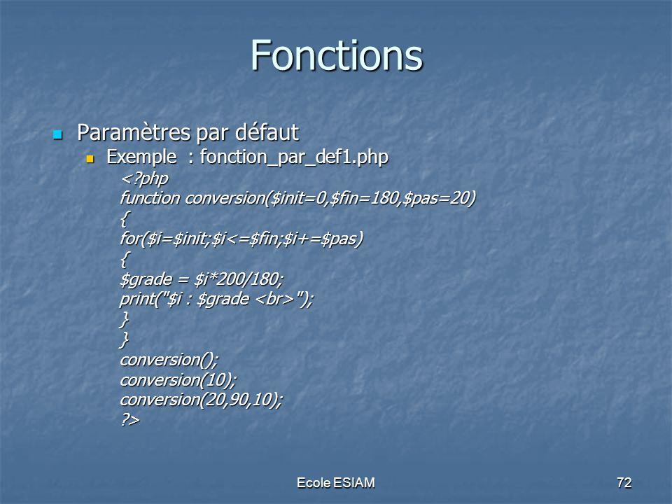 Fonctions Paramètres par défaut Exemple : fonction_par_def1.php